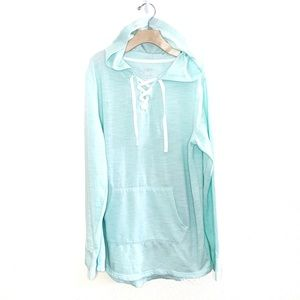 SO Mint Green Lace Hooded Pull-Over Tunic Small